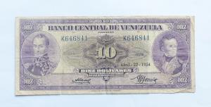 Escaso Billete de Bs.10 ~Abril 22 1954~ Serie K-6