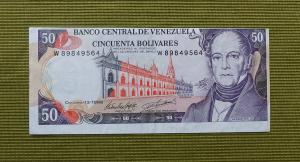 ERROR Billete de Bs.50 de 1998 Serie W-8